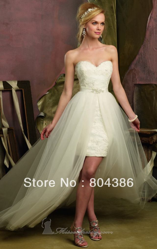 Short wedding gown with detachable train for Detachable train wedding dress